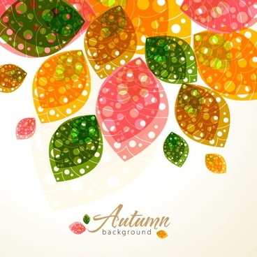 autumn background template blurred leaves decor dynamic design