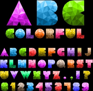 alphabet signs templates colorful low poly gem decor