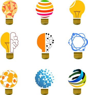 colorful light bulb collection vector design with abstract icons