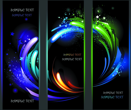 colorful light with stars vector banners
