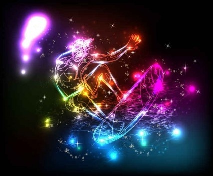 colorful lights lines background vector