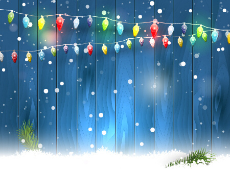 colorful lights with wood christmas background