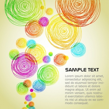 decorative background colorful flat handdrawn circles