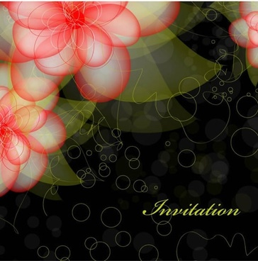 floral background template modern transparent blurred petals decor