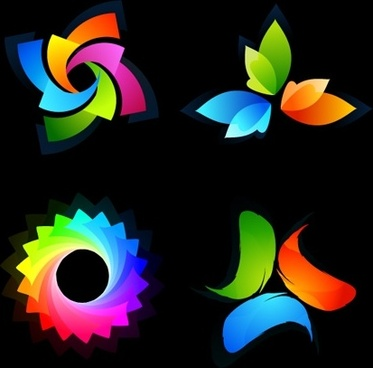 abstract logotypes collection various colorful shapes decoration