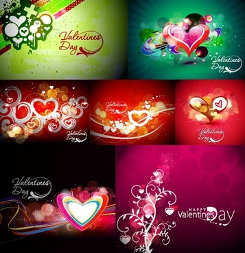 valentines cards templates colorful dynamic bokeh hearts decor