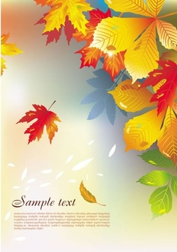 autumn background template dynamic leaves colored modern design