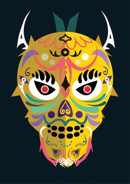 colorful mask with traditional design on dark background