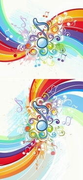 music backgrounds colorful dynamic notes swirled decor
