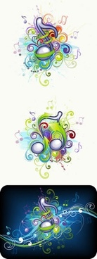 music background colorful dynamic design notes ornamental