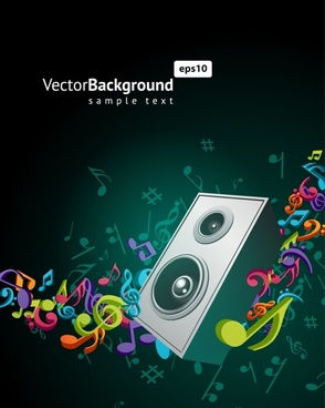 musical background colorful dynamic notes speaker decor
