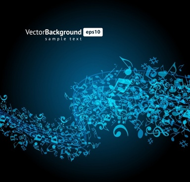 music notes background dark blue dynamic messy design