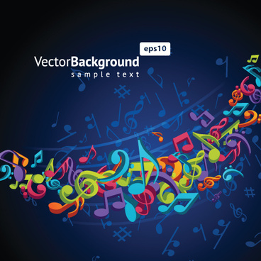 colorful musical keys backgrounds vector