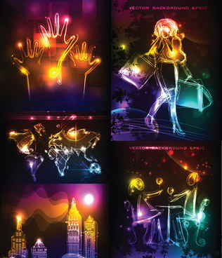 colorful neon background vector art