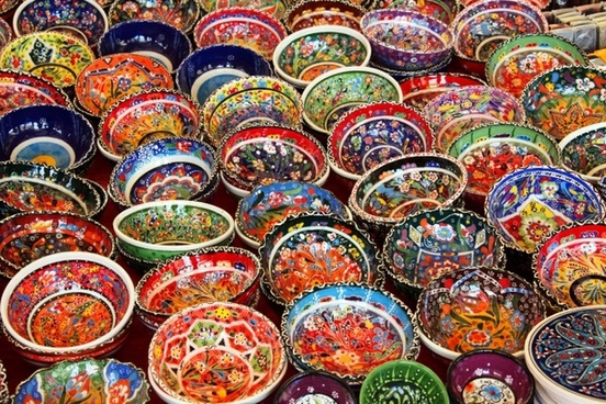 colorful oriental bowls