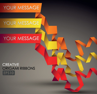 colorful origami ribbons design vector graphics