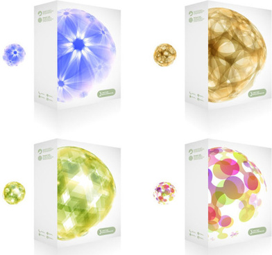 colorful packaging box cover design vector set
