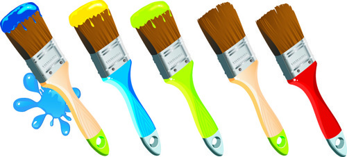 colorful paint elements art vector