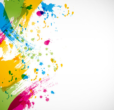 colorful paint splashing vector