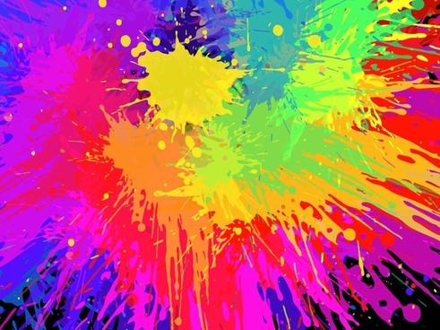 Colorful Paint Splats Vector Background