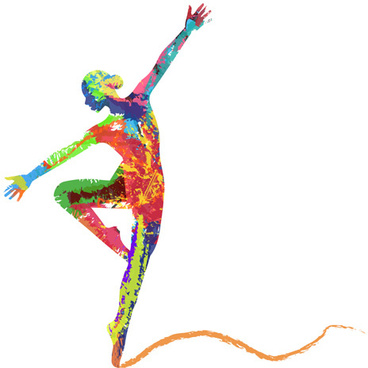 colorful paint with girl dancing vector