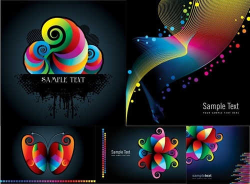 colorful patterns and lines vector