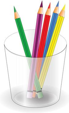 colorful pencil and pencil barrel vector