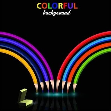 colorful pencil with black background vector