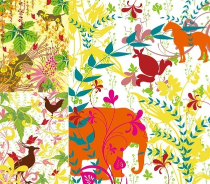 colorful plants and animals silhouette vector