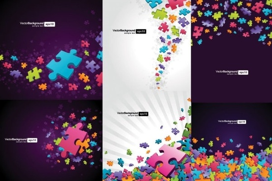 colorful puzzle pieces theme vector background