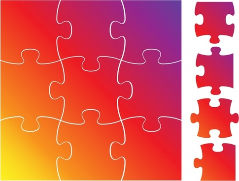 jigsaw puzzles design elements shiny modern colored flat