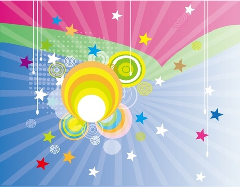 rays background design colorful circles and stars decoration