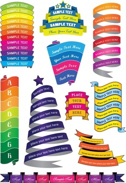 decorative ribbon templates colorful modern 3d curled shapes