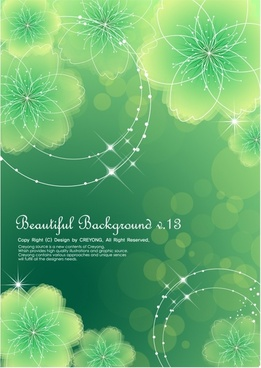 flower background modern sparkling green design