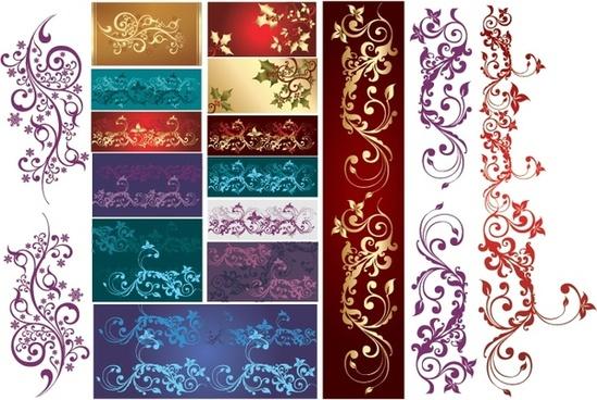 classical pattern design elements multicolored elegant curves decor