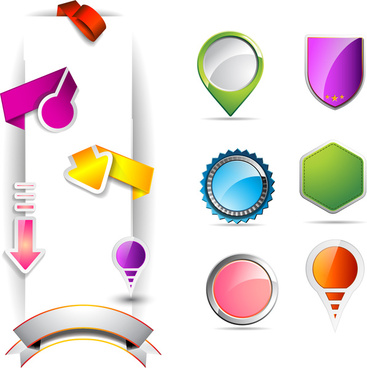 colorful shaped icons for web or game design