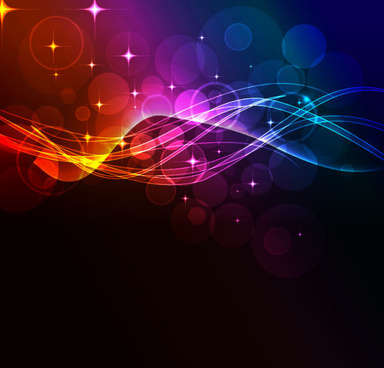 colorful shiny waves background vector graphic