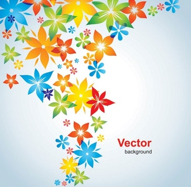 colorful small flowers vector background