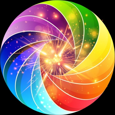 colorful sparkling background whirling lines style design