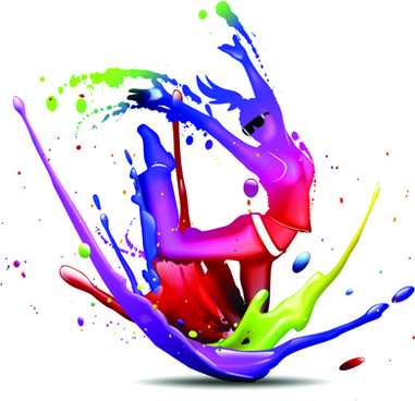 colorful splashing paint