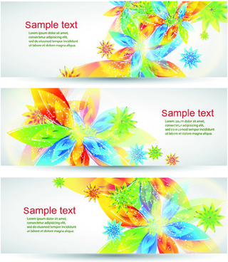 colorful spring leaves banners vector