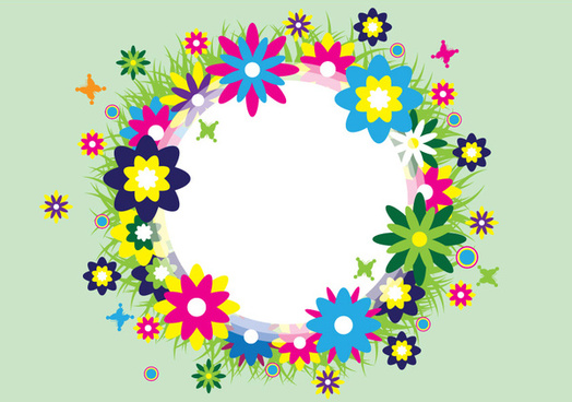 colorful spring wreath vector