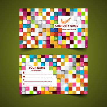 colorful square abstract business card templates