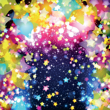 colorful stars and glitter vector backgorunds set
