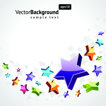 colorful stars with backgrounds vector set