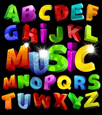 colorful threedimensional letters vector