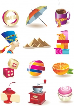 colorful threedimensional small icon vector