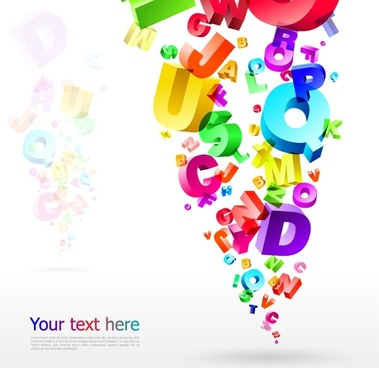 alphabet background colorful 3d floating icons decor