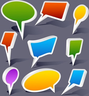 speech bubbles templates colored modern 3d shapes