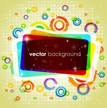 decorative background colorful modern circles frames sketch